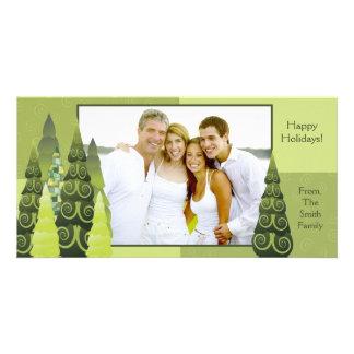 Tarjeta de la foto del árbol de navidad plantilla para tarjeta de foto