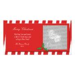 Tarjeta de la foto del bastón de caramelo tarjeta con foto personalizada