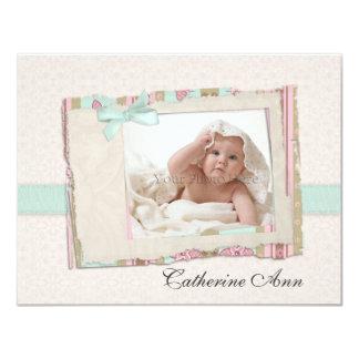 """Tarjeta de la foto del bebé de la menta del invitación 4.25"""" x 5.5"""""""