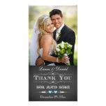 Tarjeta de la foto del boda de la pizarra de la ti tarjeta fotográfica personalizada