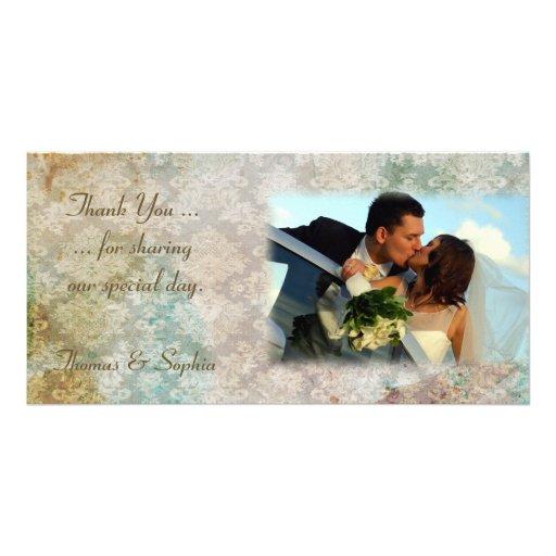 Tarjeta de la foto del boda del Grunge del damasco Tarjeta Personal