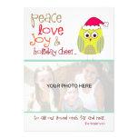 Tarjeta de la foto del búho del navidad, acción re comunicado personal