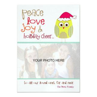 Tarjeta de la foto del búho del navidad, de papel invitación 12,7 x 17,8 cm