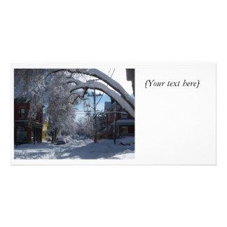 Tarjeta de la foto del carril Nevado Plantilla Para Tarjeta De Foto