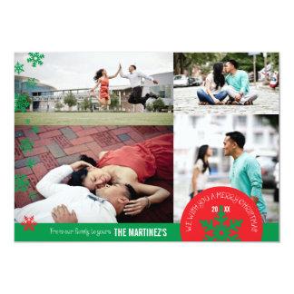 """tarjeta de la foto del copo de nieve de la foto invitación 5"""" x 7"""""""