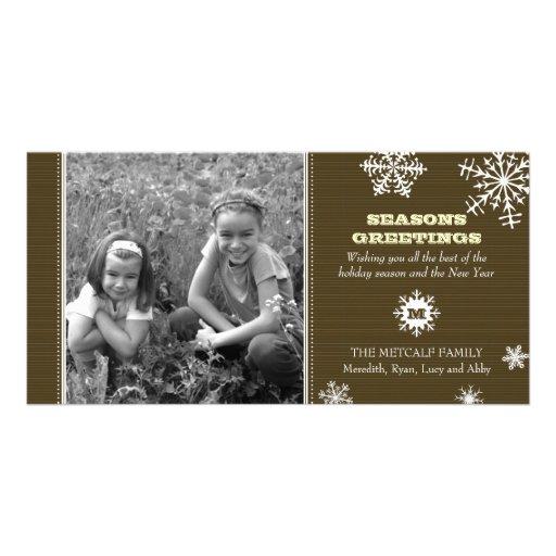 Tarjeta de la foto del copo de nieve de la tela a  tarjetas fotograficas personalizadas