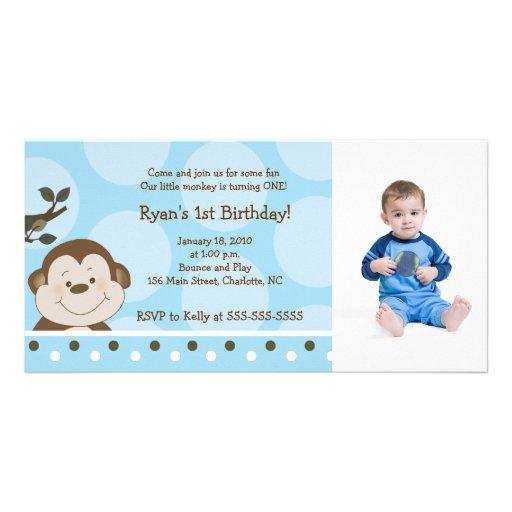 Tarjeta de la foto del cumpleaños del mono 8x4 del tarjeta con foto personalizada