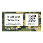 Tarjeta de la foto del día de fiesta - camuflaje tarjeta fotografica