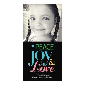 Tarjeta de la foto del día de fiesta de la alegría tarjetas personales