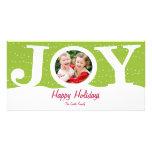 Tarjeta de la foto del día de fiesta de la alegría tarjeta personal con foto