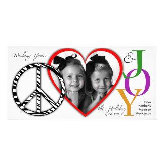 Tarjeta de la foto del día de fiesta de la paz, de plantilla para tarjeta de foto