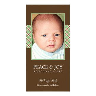 Tarjeta de la foto del día de fiesta de la tela es tarjetas personales