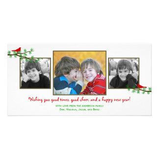 Tarjeta de la foto del día de fiesta de los gorjeo tarjeta con foto personalizada