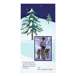 Tarjeta de la foto del día de fiesta de los pinos tarjetas fotograficas