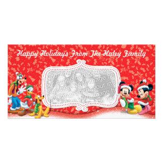Tarjeta de la foto del día de fiesta de Mickey y d Tarjetas Personales