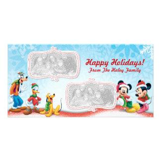 Tarjeta de la foto del día de fiesta de Mickey y d Tarjeta Con Foto Personalizada