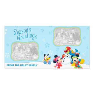 Tarjeta de la foto del día de fiesta de Mickey y d Tarjetas Personales Con Fotos