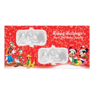Tarjeta de la foto del día de fiesta de Mickey y Plantilla Para Tarjeta De Foto