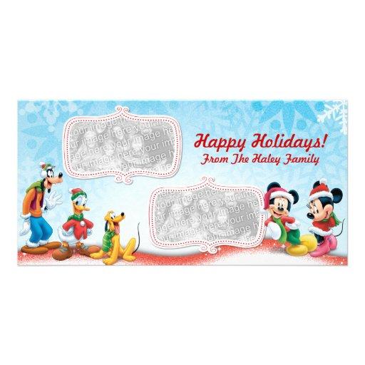 Tarjeta de la foto del día de fiesta de Mickey y Tarjeta Con Foto Personalizada
