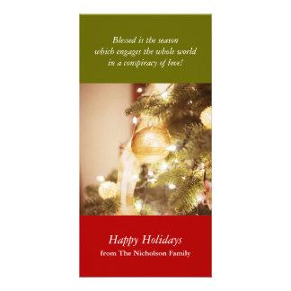 Tarjeta de la foto del día de fiesta del árbol de tarjetas fotograficas personalizadas