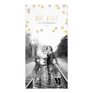Tarjeta de la foto del día de fiesta del brillo tarjeta personal con foto