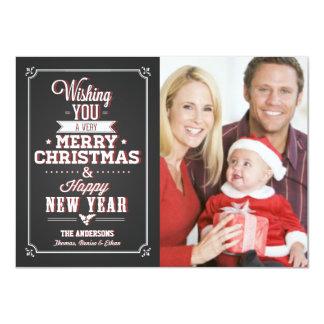 """Tarjeta de la foto del día de fiesta del navidad invitación 4.5"""" x 6.25"""""""