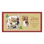 Tarjeta de la foto del día de fiesta del trío de l tarjetas con fotos personalizadas
