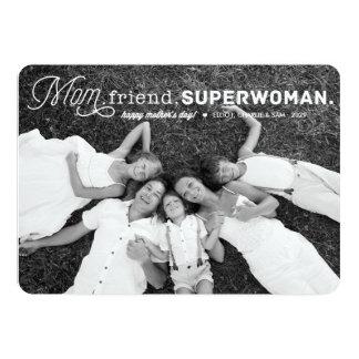 """Tarjeta de la foto del día de madre del Superwoman Invitación 5"""" X 7"""""""
