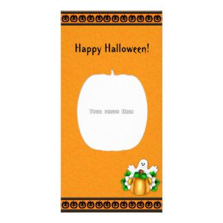 Tarjeta de la foto del fantasma de la calabaza del tarjeta fotográfica personalizada