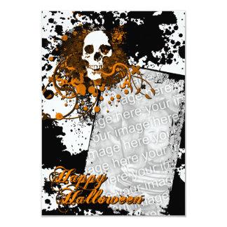 """tarjeta de la foto del feliz Halloween: cráneo de Invitación 3.5"""" X 5"""""""