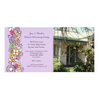 Tarjeta de la foto del fiesta de la nueva casa que tarjeta fotográfica personalizada