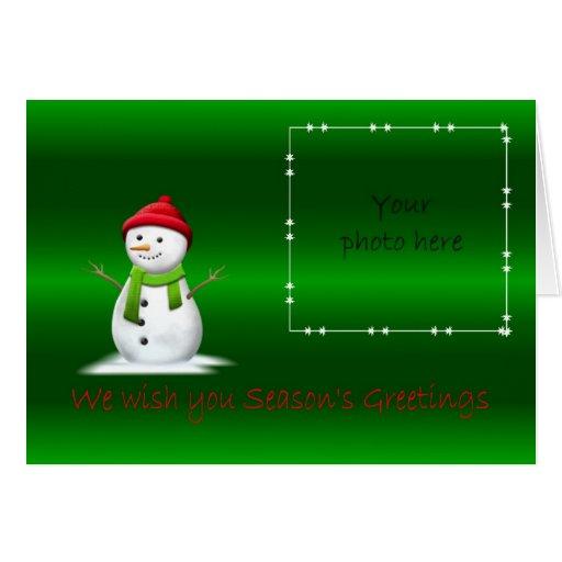 Tarjeta de la foto del muñeco de nieve de los salu