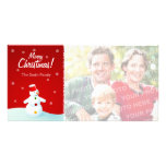 Tarjeta de la foto del muñeco de nieve del navidad tarjeta personal con foto