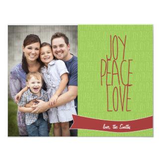 """Tarjeta de la foto del navidad - amor de la paz de invitación 4.25"""" x 5.5"""""""