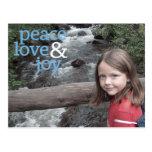 Tarjeta de la foto del navidad - amor y alegría de postales