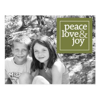 Tarjeta de la foto del navidad - amor y alegría de tarjetas postales