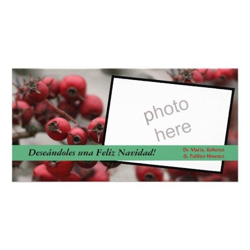 tarjeta de la foto del navidad de la baya tarjetas personales con fotos