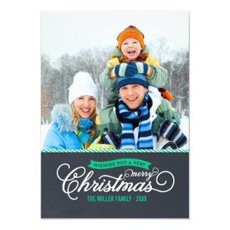 Tarjeta de la foto del navidad de la escritura de invitacion personal