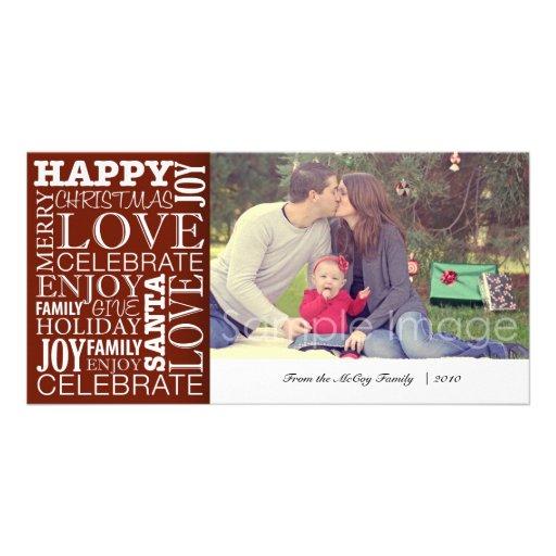 Tarjeta de la foto del navidad de la familia tarjeta fotografica personalizada