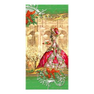 Tarjeta de la foto del navidad de la fiesta del té tarjetas fotográficas