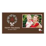 Tarjeta de la foto del navidad de la guirnalda del tarjeta fotografica