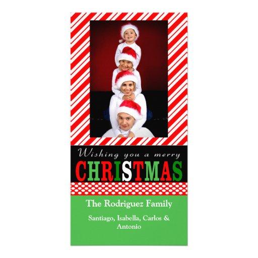 Tarjeta de la foto del navidad de la raya del bast tarjetas fotograficas