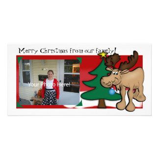 Tarjeta de la foto del navidad de los alces tarjeta personal con foto