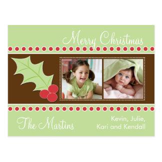Tarjeta de la foto del navidad del acebo postal