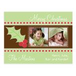 Tarjeta de la foto del navidad del acebo postales