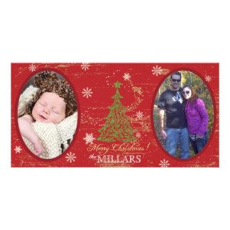 Tarjeta de la foto del navidad del árbol de navida tarjeta fotografica