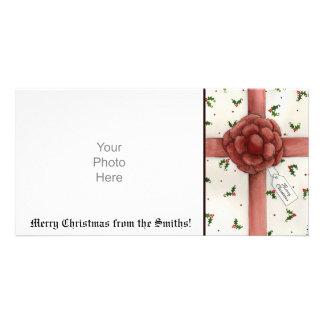 Tarjeta de la foto del navidad del arco del día de plantilla para tarjeta de foto
