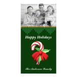 Tarjeta de la foto del navidad del bastón de caram tarjeta con foto personalizada