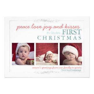 Tarjeta de la foto del navidad del bebé de la aleg invitación personalizada