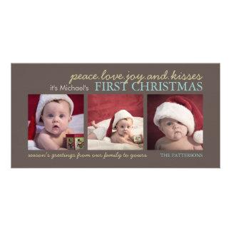 Tarjeta de la foto del navidad del bebé de la aleg plantilla para tarjeta de foto